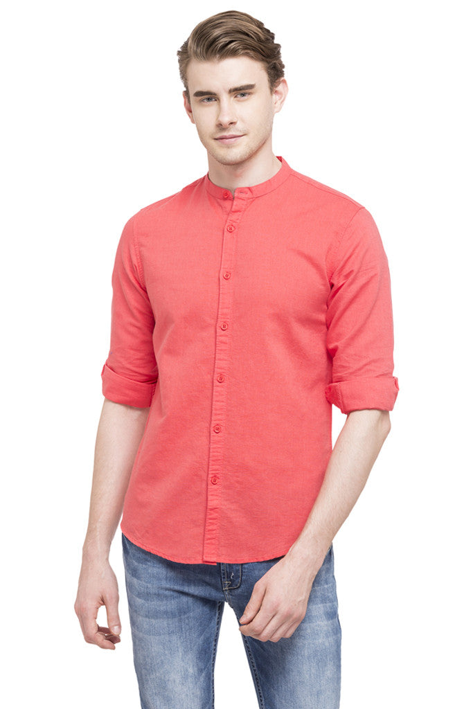 Mandarin Collar Casual Shirt-1
