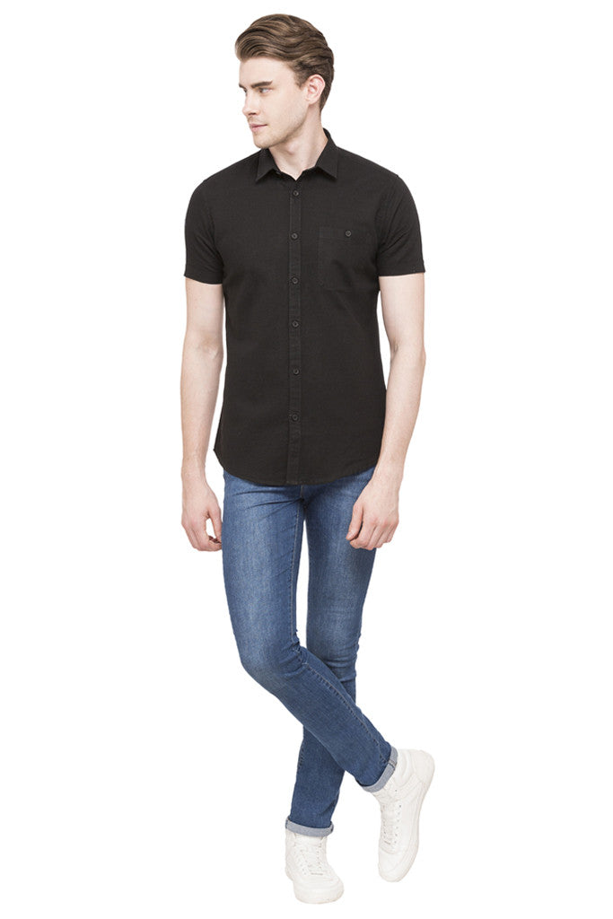 Solid Short Sleeved Shirt-2