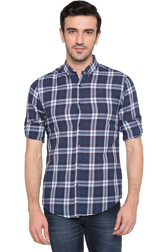 Checked Navy Blue Casual Shirt-1
