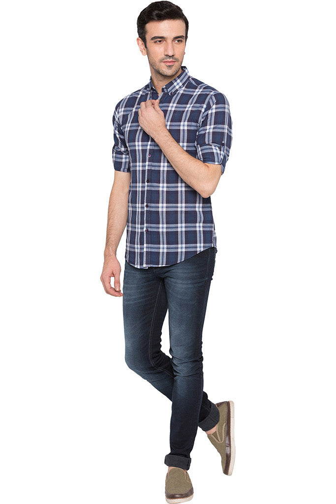 Checked Navy Blue Casual Shirt-2