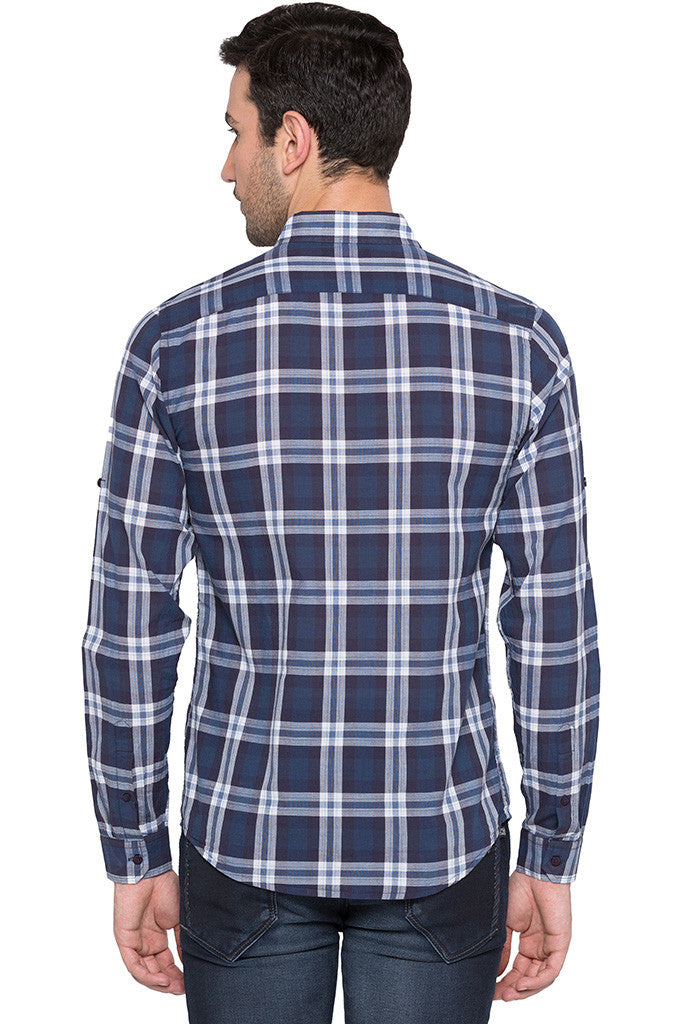 Checked Navy Blue Casual Shirt-3
