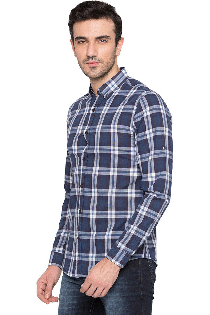 Checked Navy Blue Casual Shirt-4