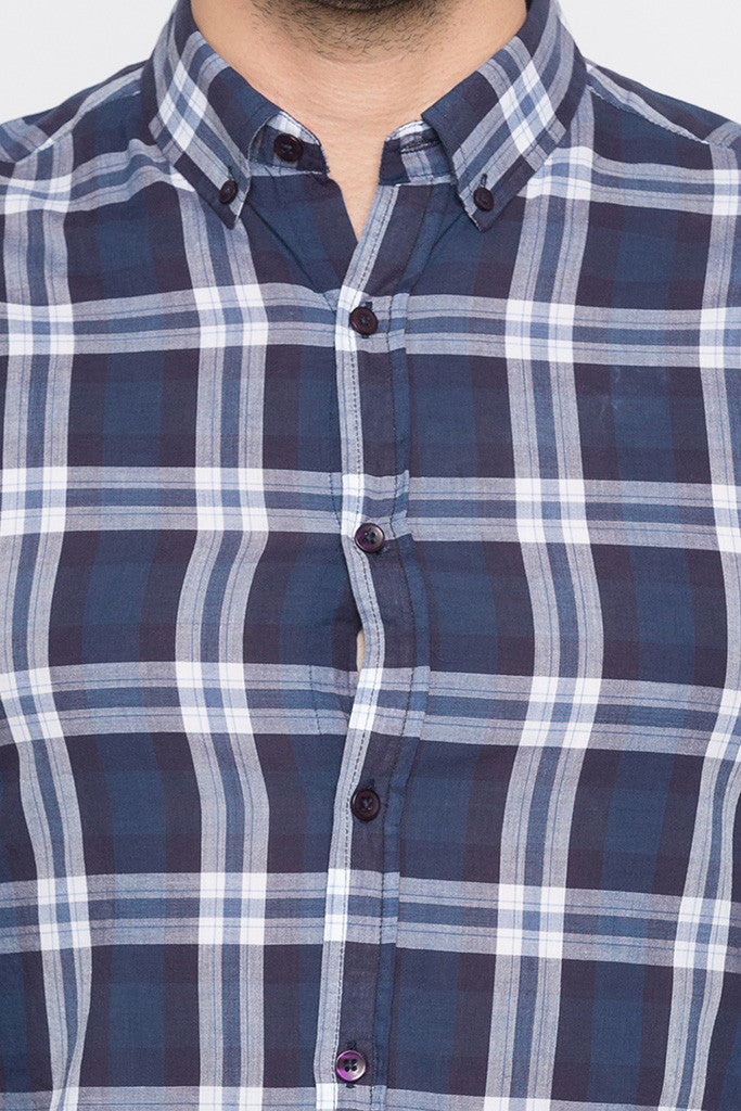 Checked Navy Blue Casual Shirt-5
