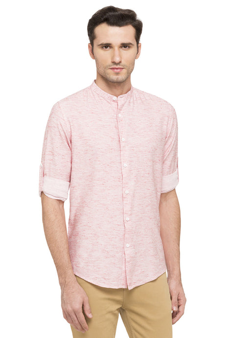 Slim Fit Mandarin Collar Casual Shirt-1