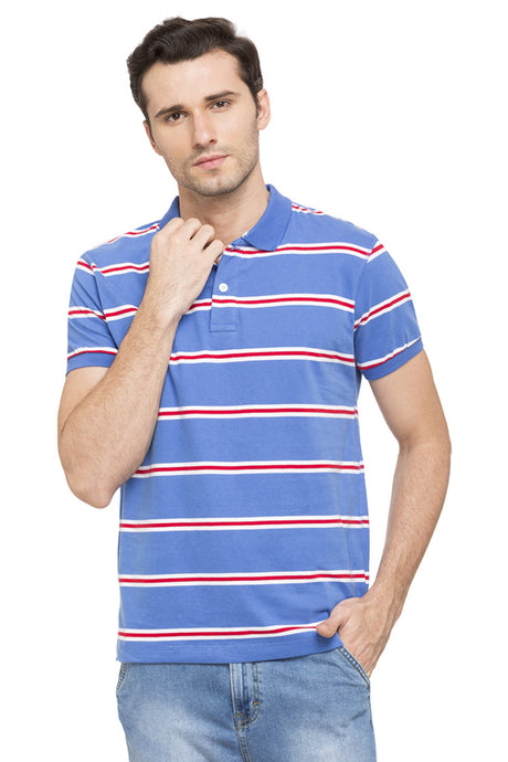 Striped Short Sleeve Polo T-shirt-1
