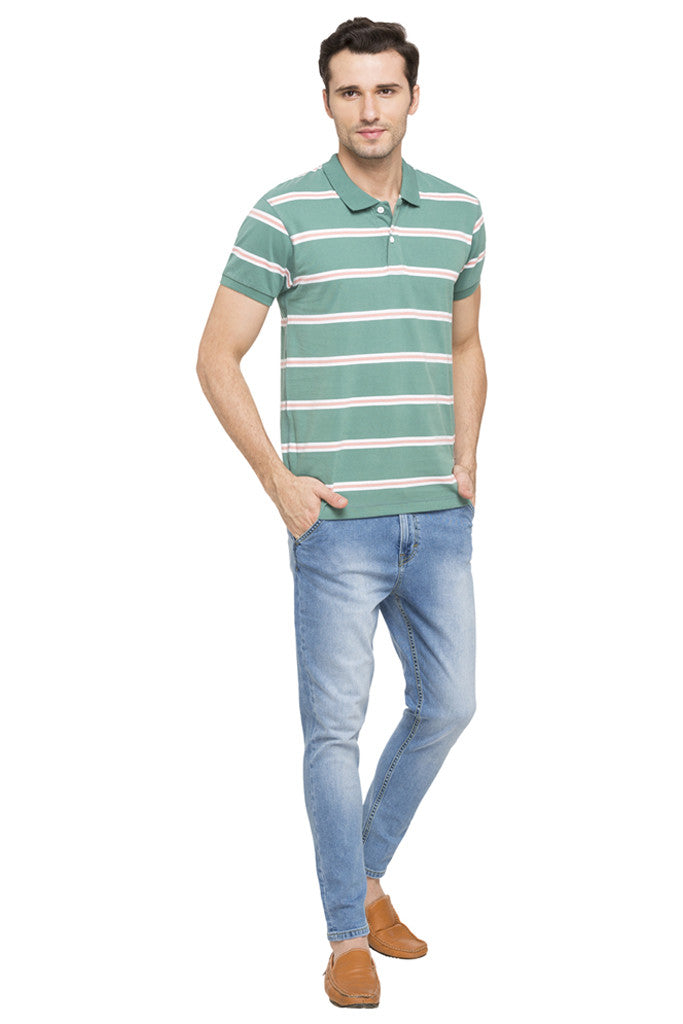 Striped Short Sleeve Polo T-shirt-2