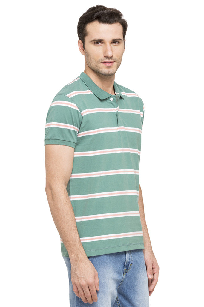 Striped Short Sleeve Polo T-shirt-4