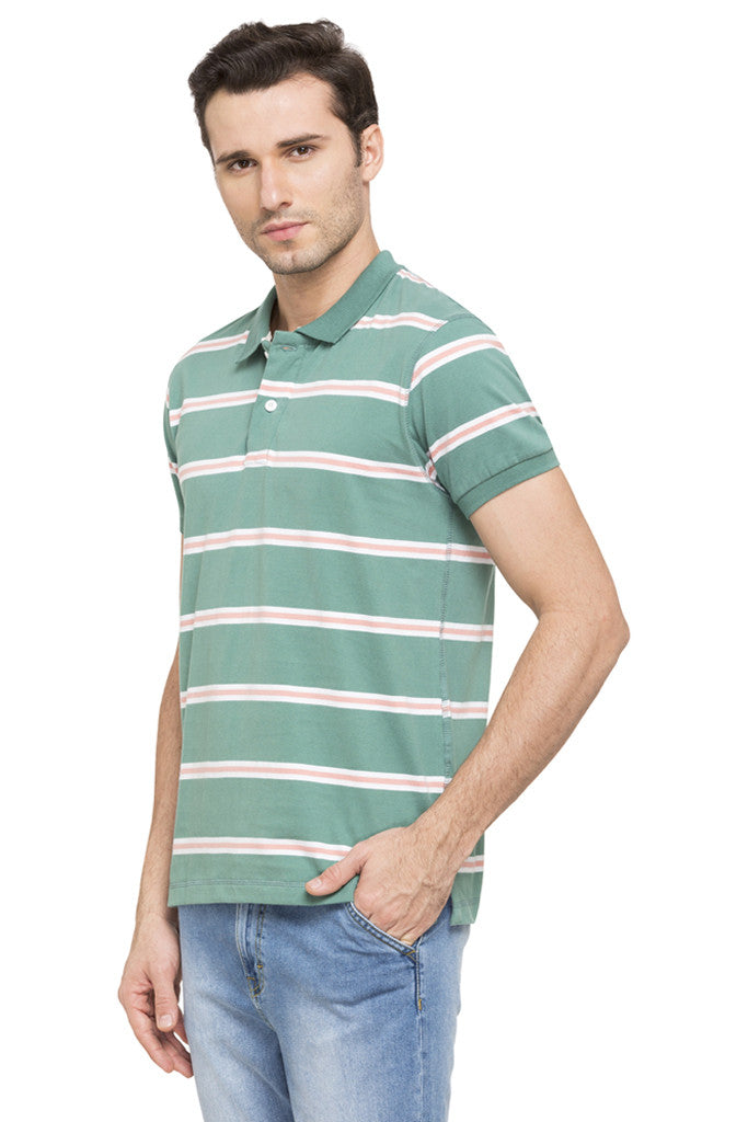 Striped Short Sleeve Polo T-shirt-5