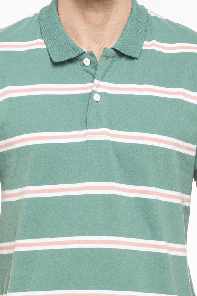 Striped Short Sleeve Polo T-shirt-6