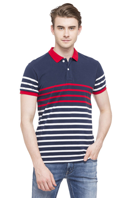 Striped Polo Collar T-shirt-1