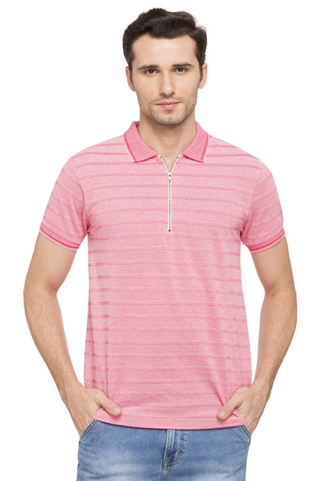 Striped Polo Zip-up Neck T-shirt-1