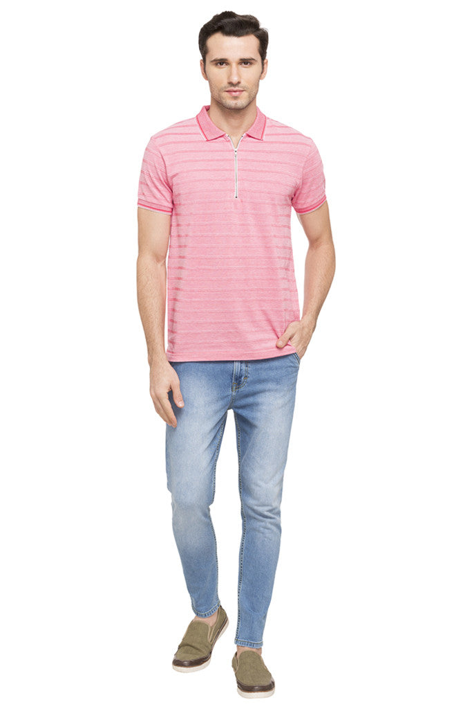 Striped Polo Zip-up Neck T-shirt-2
