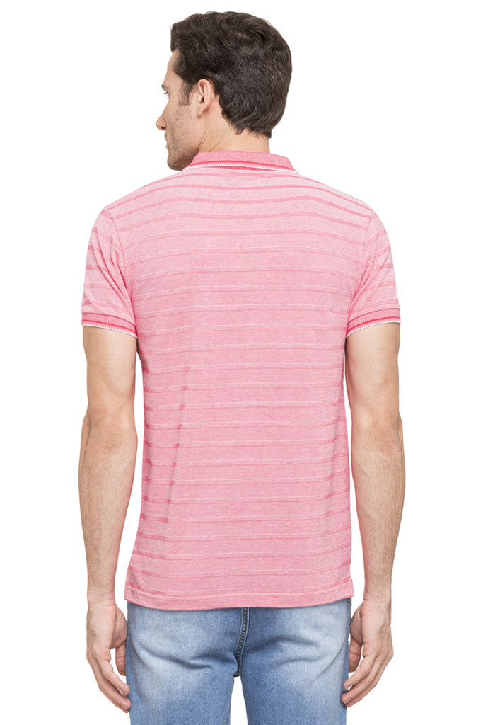 Striped Polo Zip-up Neck T-shirt-3