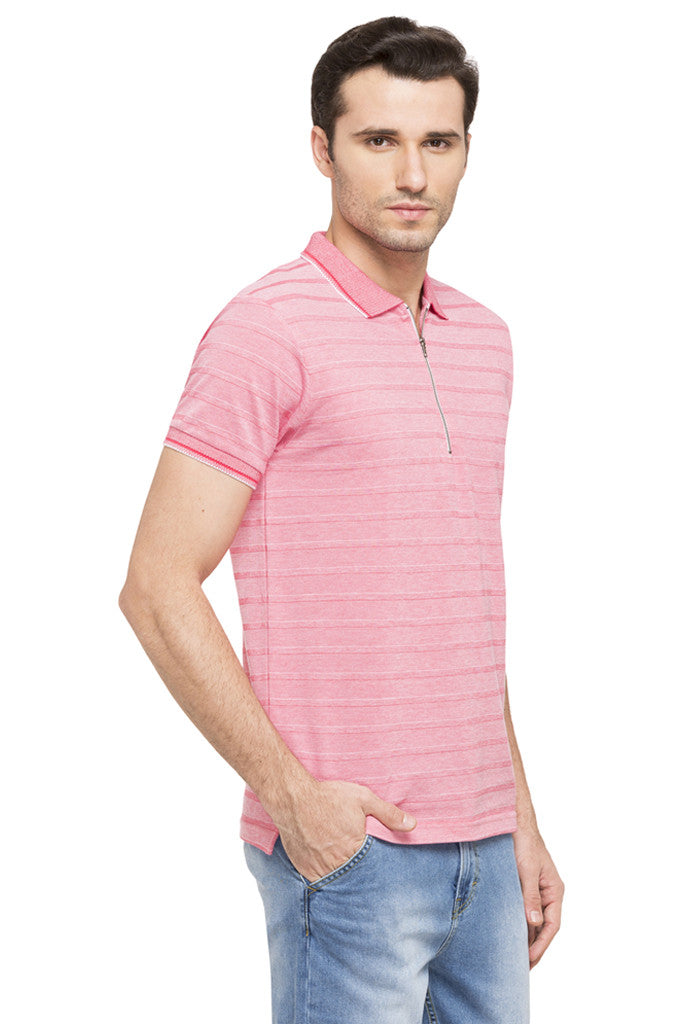 Striped Polo Zip-up Neck T-shirt-4