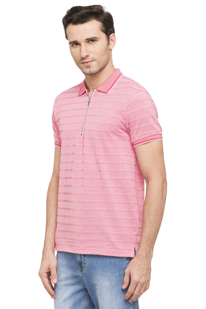 Striped Polo Zip-up Neck T-shirt-5