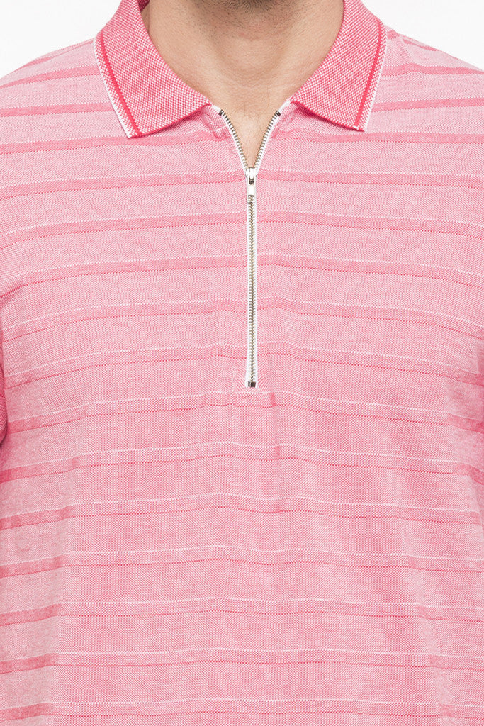 Striped Polo Zip-up Neck T-shirt-6