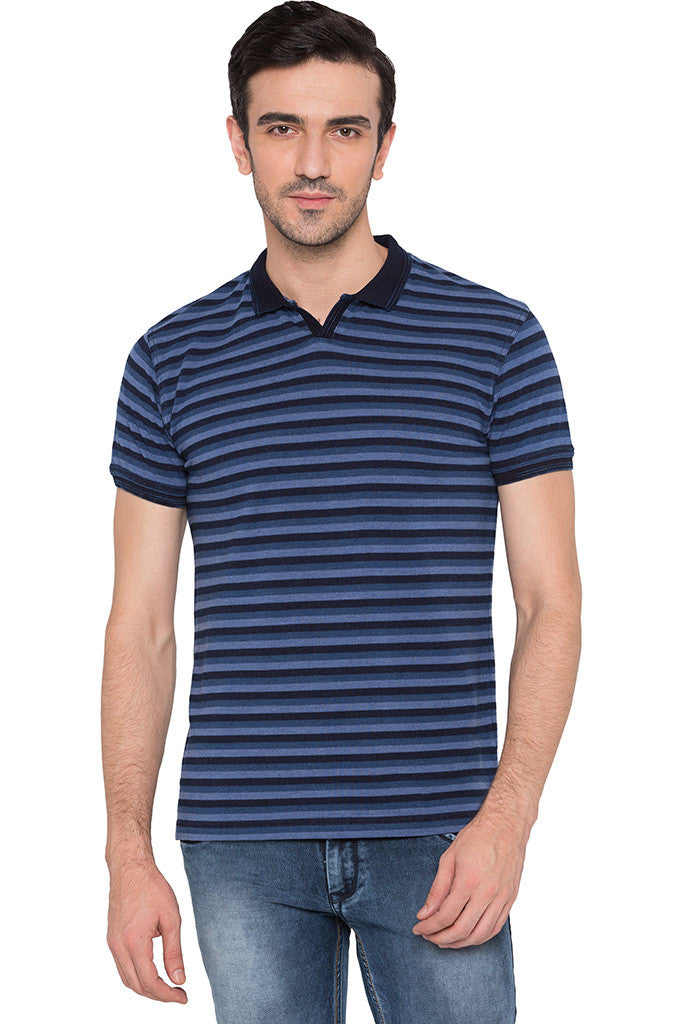 Striped Polo Neck Indigo T-shirt-1