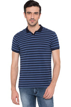 Load image into Gallery viewer, Striped Polo Neck Indigo T-shirt-1