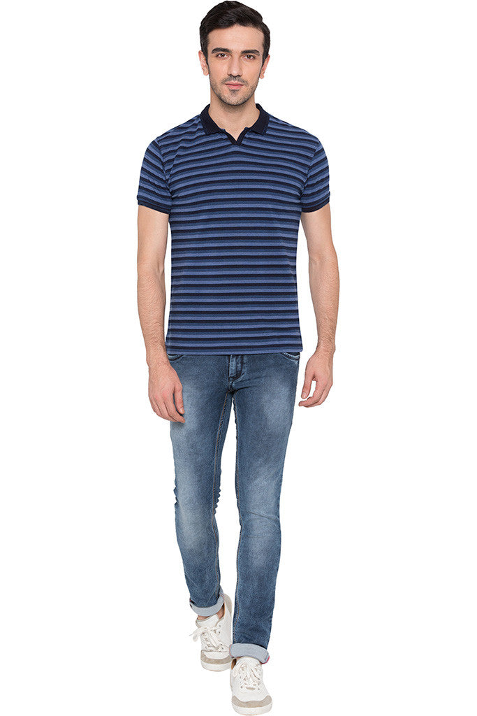 Striped Polo Neck Indigo T-shirt-2