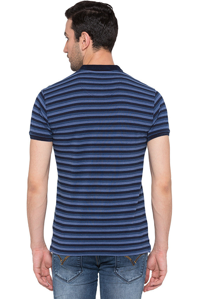 Striped Polo Neck Indigo T-shirt-3