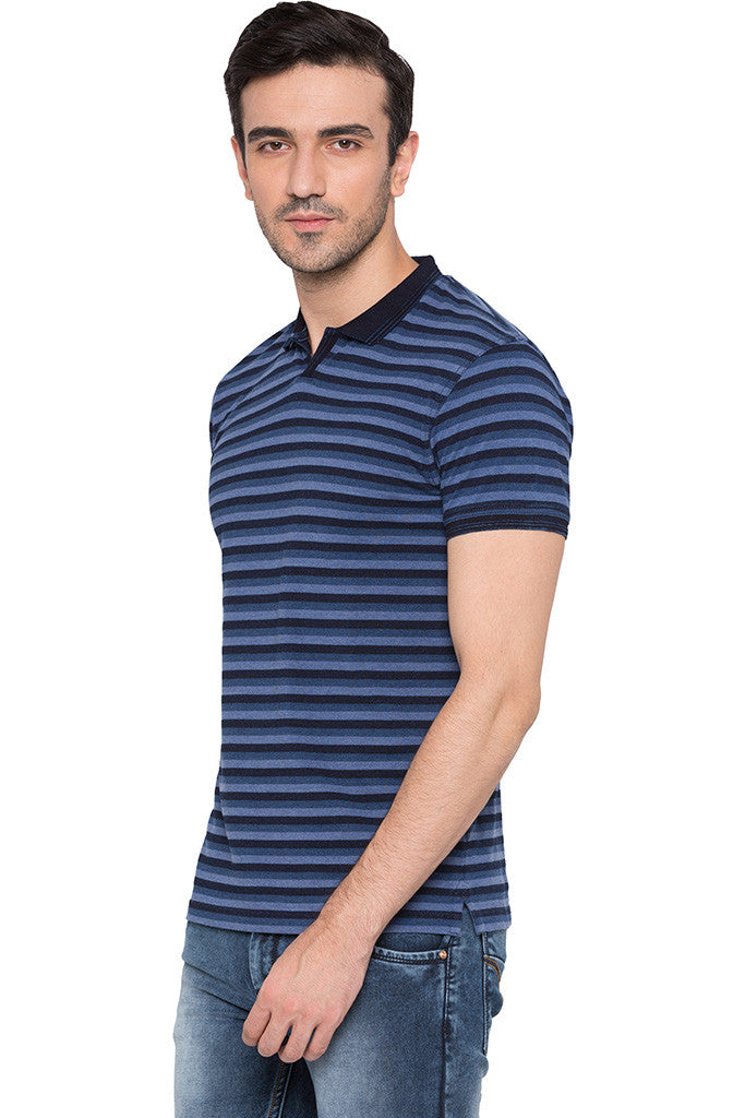 Striped Polo Neck Indigo T-shirt-4