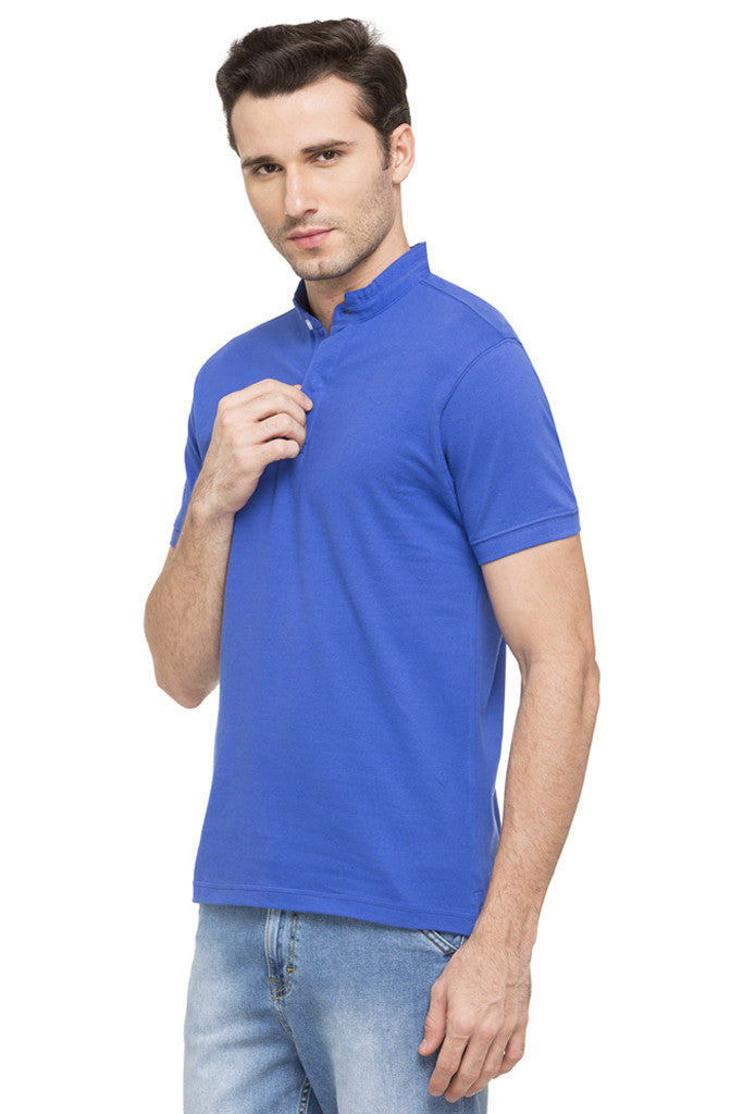 Mandarin Collar Solid T-shirt-5