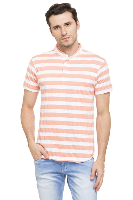 Striped Mandarin Collar T-shirt-1