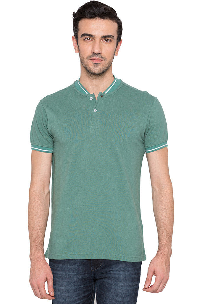Solid Polo Neck Green T-shirt-1