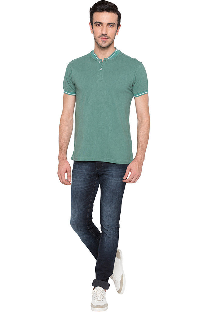 Solid Polo Neck Green T-shirt-2