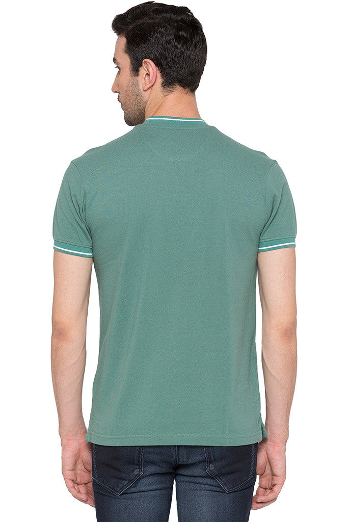 Solid Polo Neck Green T-shirt-3