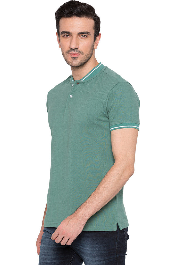 Solid Polo Neck Green T-shirt-4