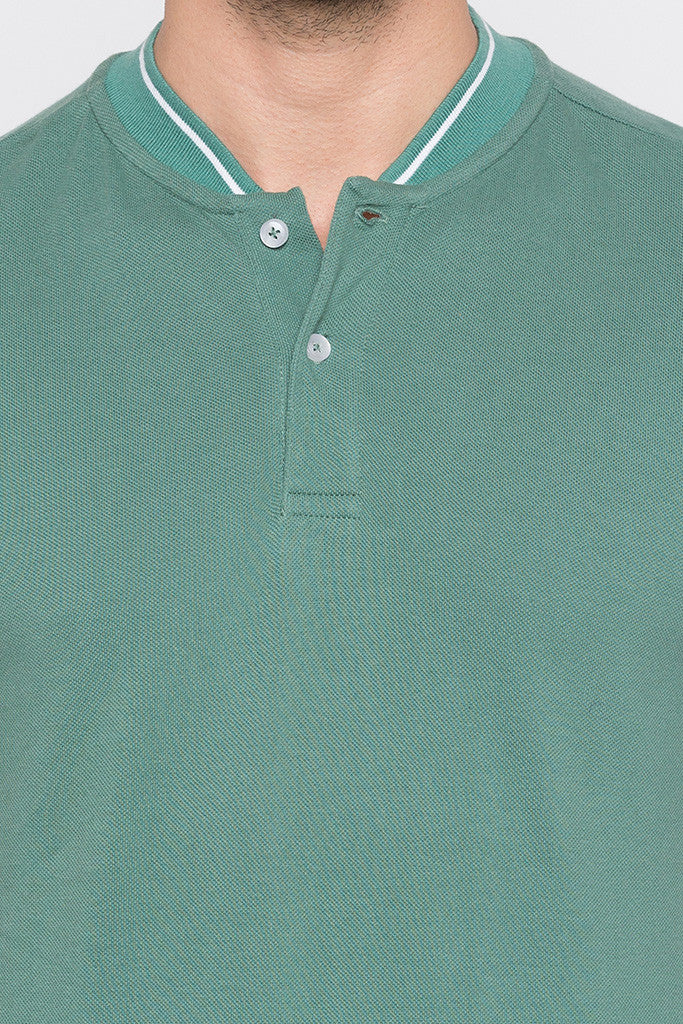 Solid Polo Neck Green T-shirt-5