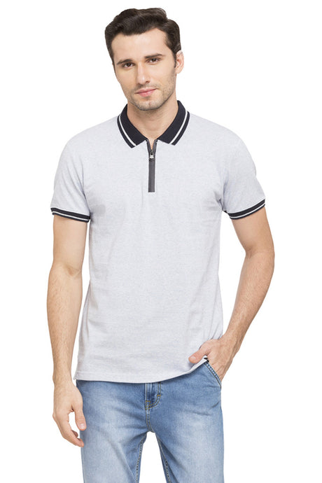 Solid Polo Zip-up Neck T-shirt-1