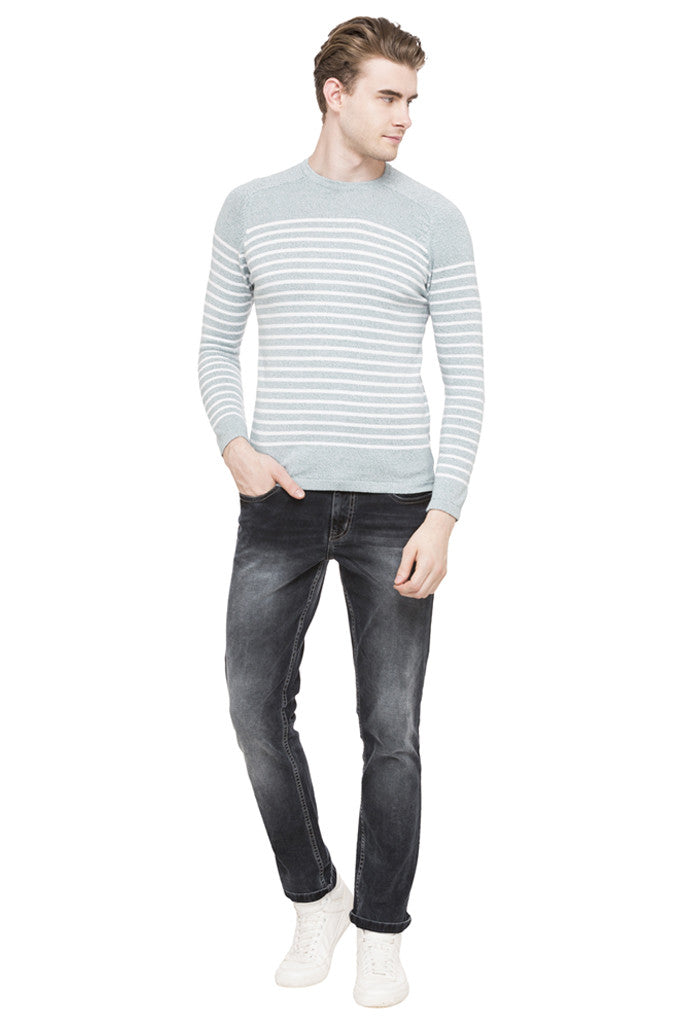 Round Necked Striped T-shirt-2