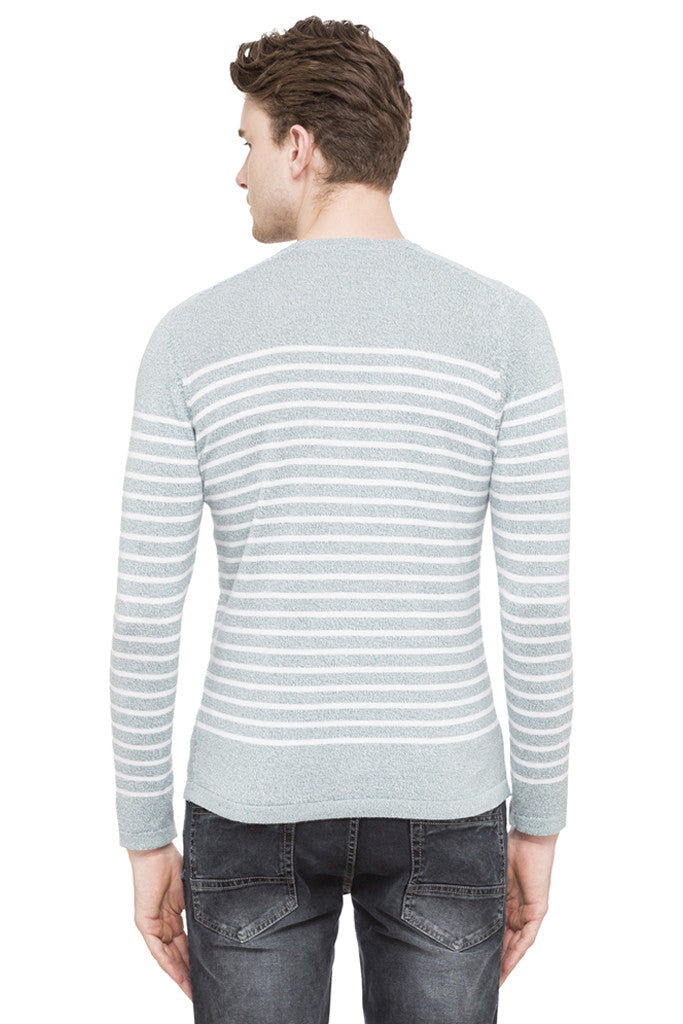 Round Necked Striped T-shirt-3