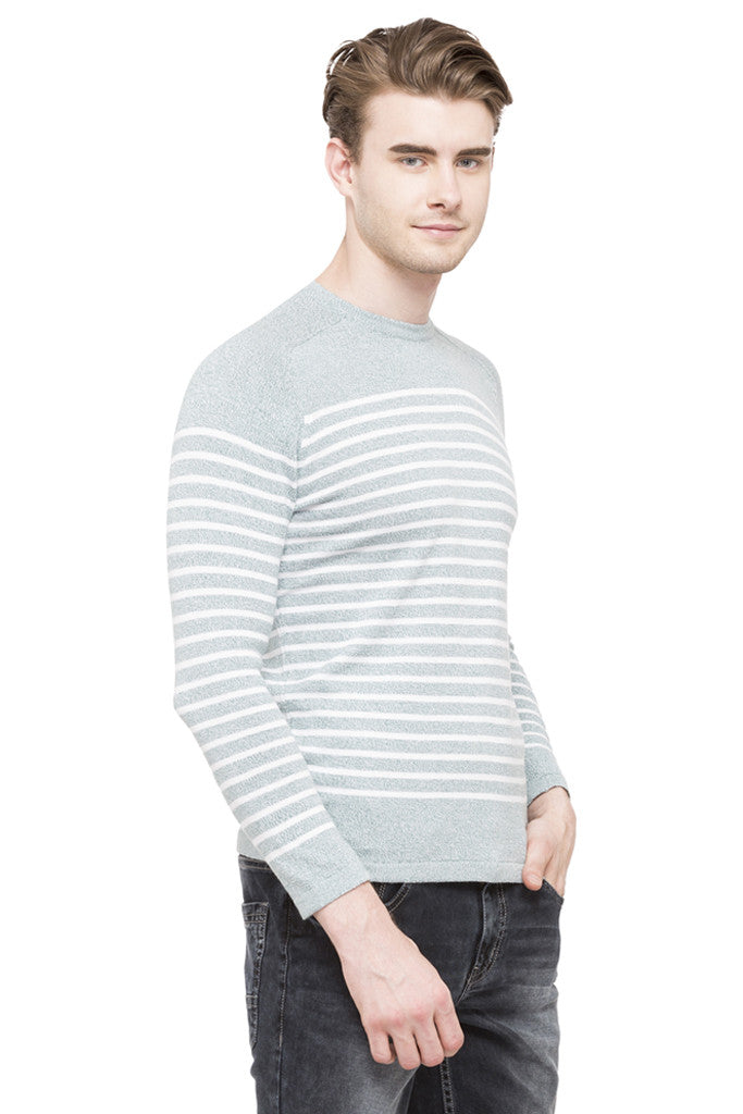 Round Necked Striped T-shirt-4