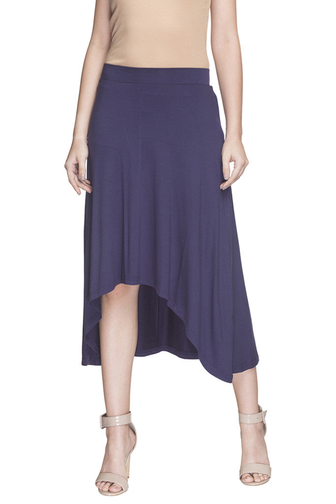 Solid High Low Skirt-1