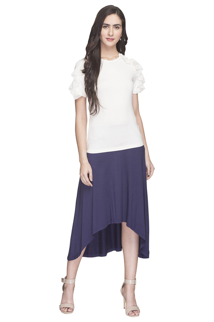 Solid High Low Skirt-2