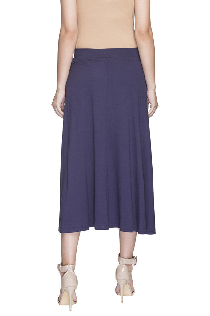 Solid High Low Skirt-3