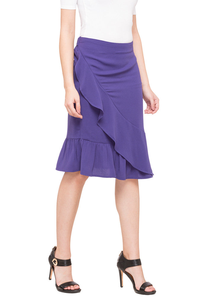 Solid Layered Skirt-4