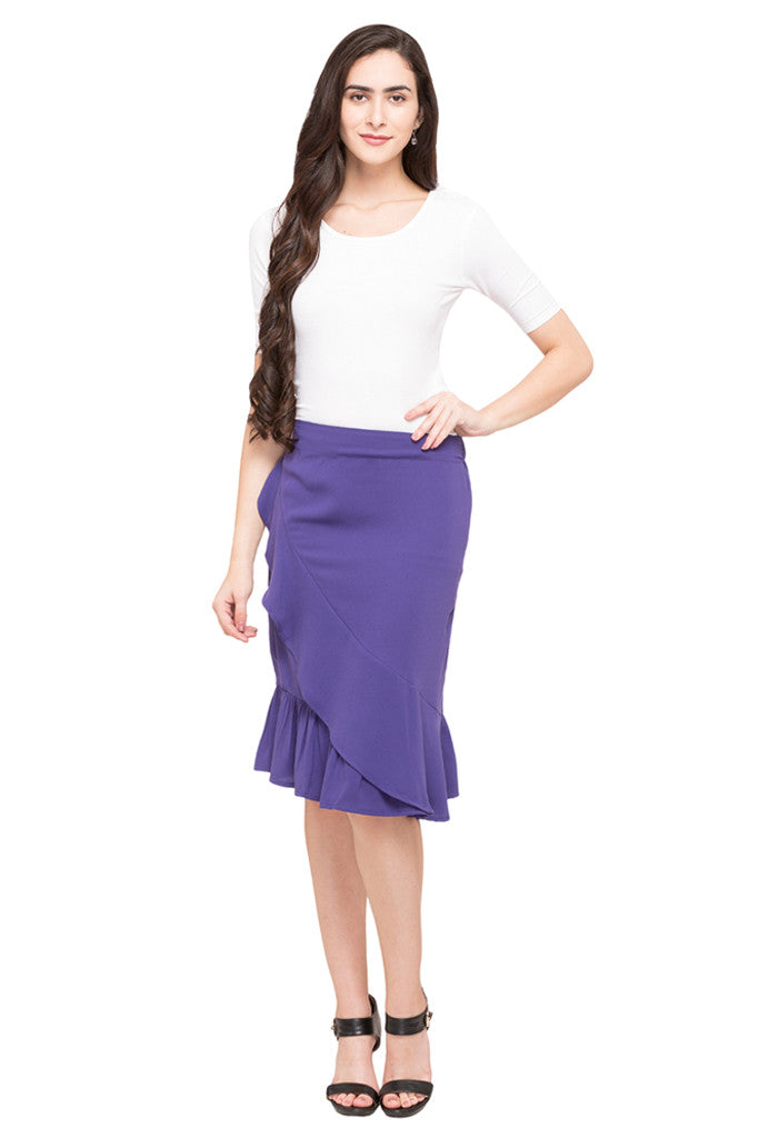 Solid Layered Skirt-5