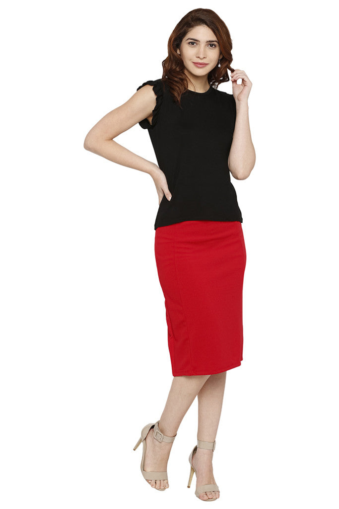 Solid Pencil Skirt-2