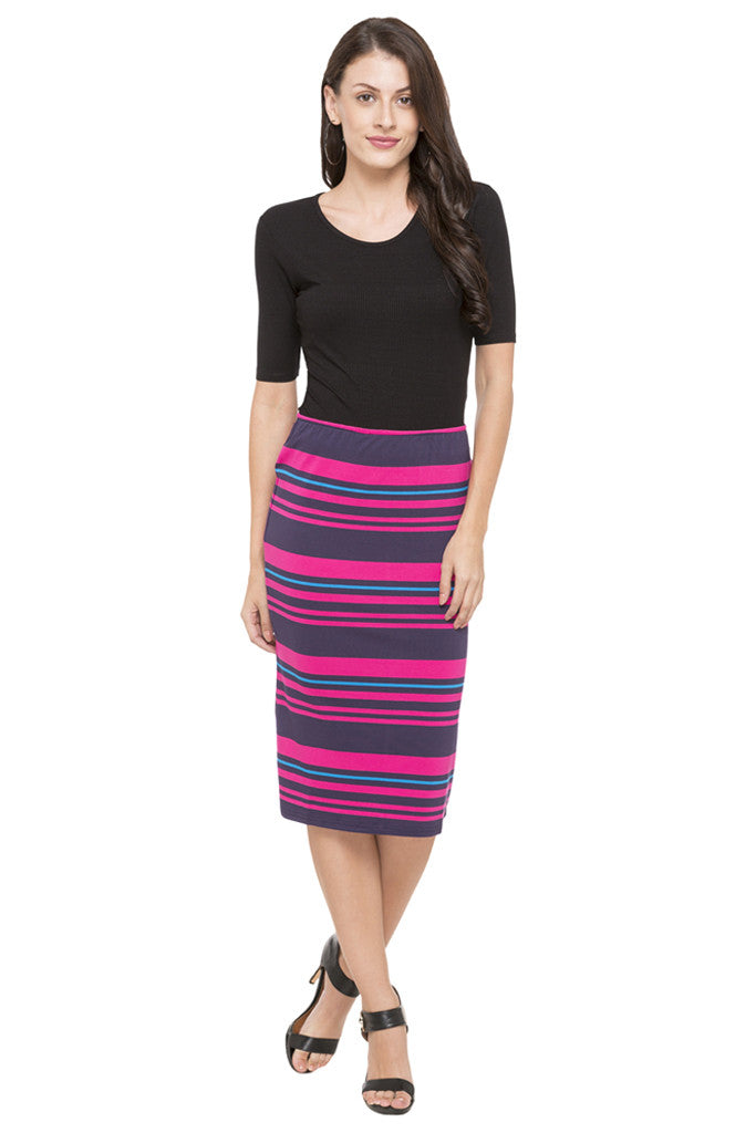 Striped Pencil Skirt-2