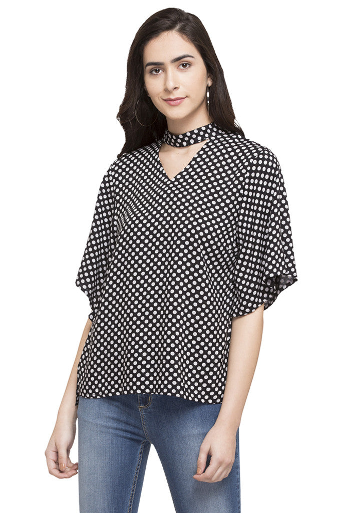 Polka Dot Print Top-1