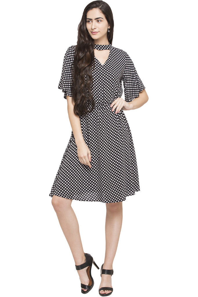 Flared Choker Dress-5