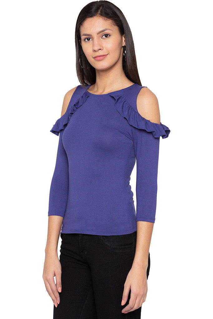 Frills Cold Shoulder Top-4