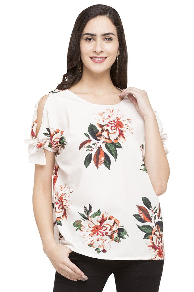Cold Shoulder Tie Up Floral Print Top-1