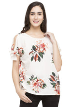 Load image into Gallery viewer, Cold Shoulder Tie Up Floral Print Top-1