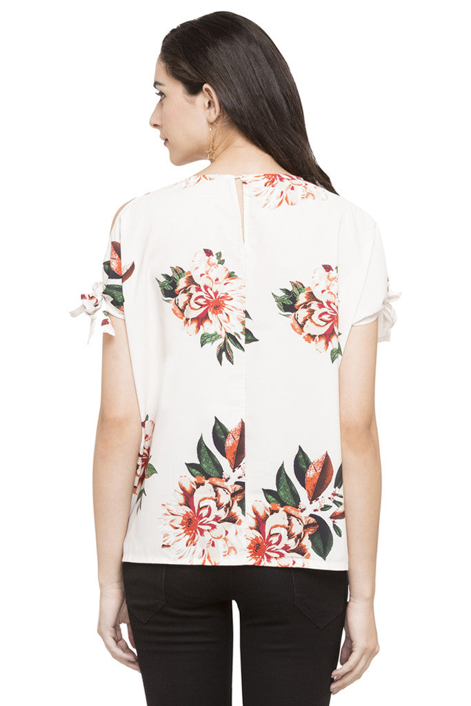 Cold Shoulder Tie Up Floral Print Top-3