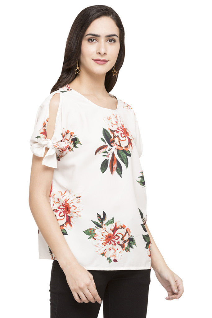 Cold Shoulder Tie Up Floral Print Top-4
